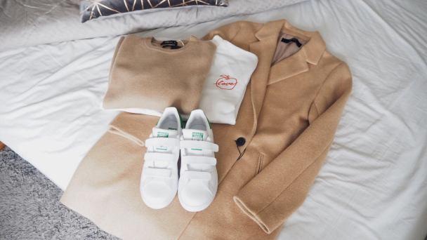 A/W 17 Zara Coat and Jumper, Adidas Stan Smith, H&M Jumper