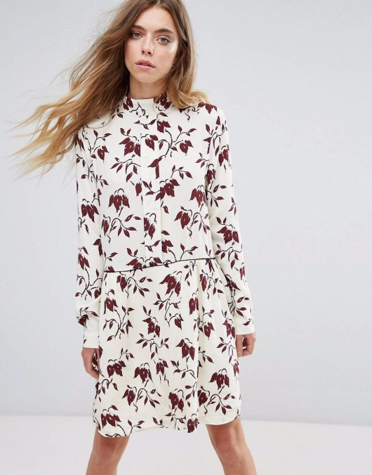 Ganni Maxwell Crepe Print Shirt Dress