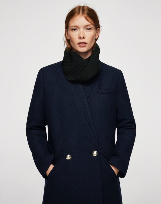 Mango Dark Navy Military Style Coat